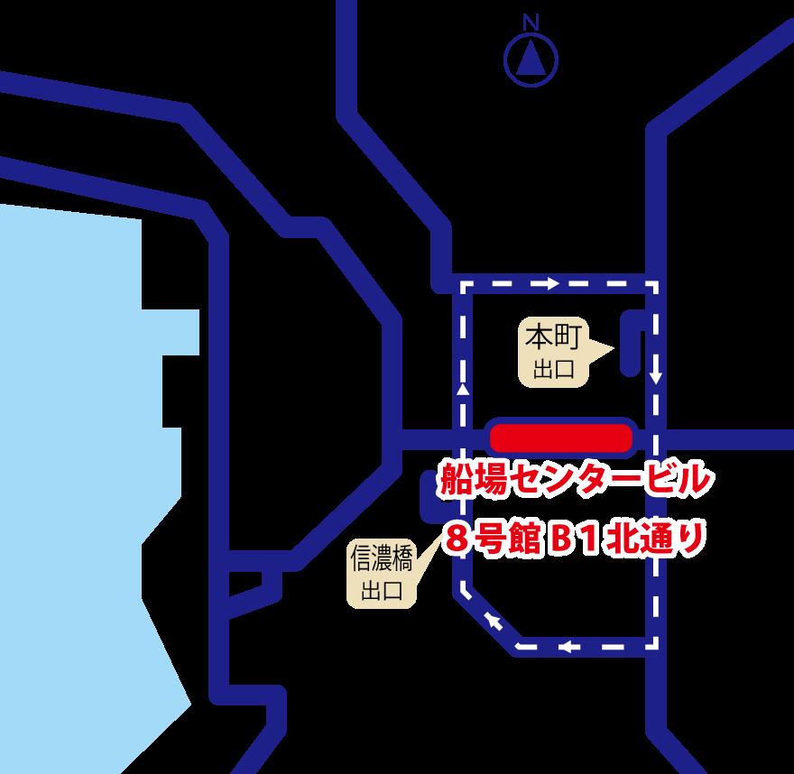 スピード名刺・特急名刺印刷の名刺エキスプレス大阪船場本町店・案内図